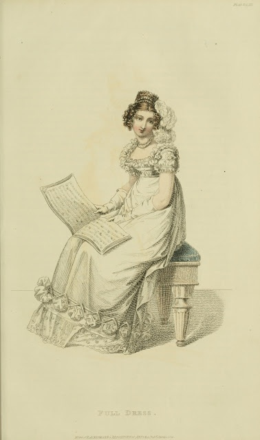 A lady with her music book. Ackermann's repository, 1821