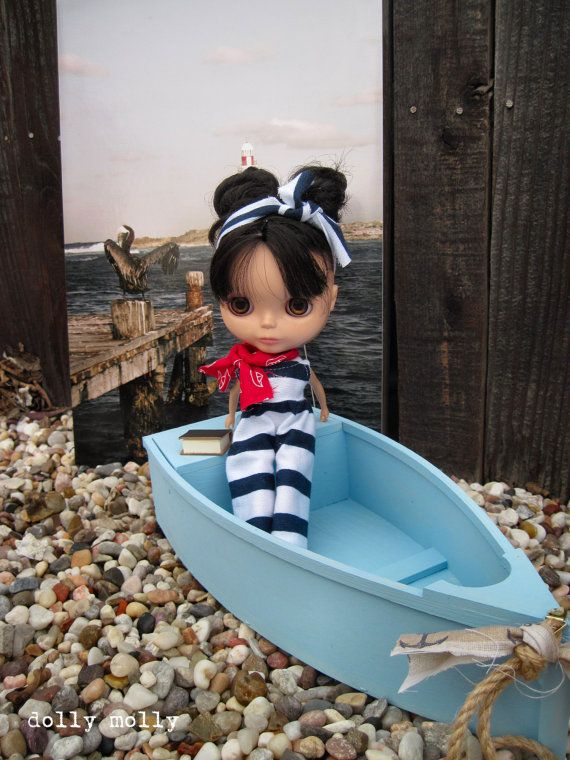 dolly molly Navy and white Nautical Jumpsuit and scarf for Blythe doll