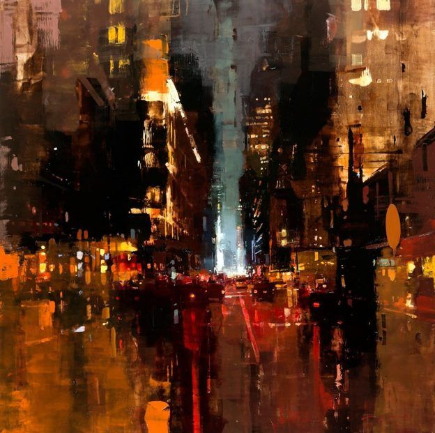 Oil Based Cityscapes at Dawn and Dusk by Jeremy Mann - NYC #19, oil on panel, 30 x 30 inches