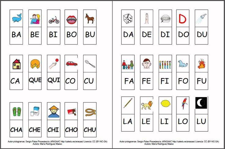 MATERIALES - Cartilla de lectura fotosilábica: Mayúsculas.  Cartilla de lectura fotosilábica, se presentan tres materiales, en el primero aparecen el conjunto de imágenes que representan cada una de las sílabas directas del alfabeto asociadas a la palabra que contiene dicha sílaba. En un segundo documento se asocia la imagen solamente con la sílaba. El último archivo contiene ejercicios de completar con las imágenes y sílabas estudiadas.   http://arasaac.org/materiales.php?id_material=1075