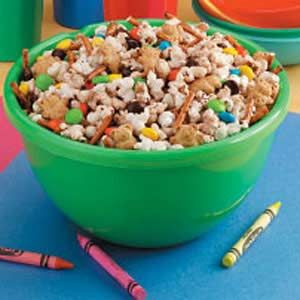 Sweet Popcorn Snack Mix Recipe -- Worked out great! We swapped Sixlets for M because of allergies