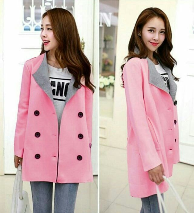 coat ricci pink babyterry kancing hidup fit xl 67000