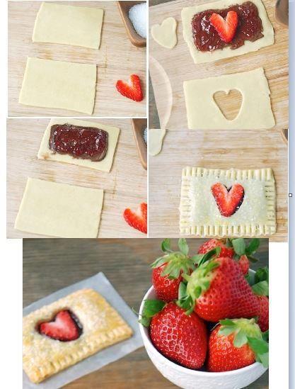 Una idea más para San Valentin, Hojaldre con fresas y chocolate, sencillo y riquiiiisimo!