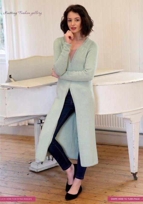Длинное вязаное пальто Longline от дизайнера Sian Brown. Длинное пальто, вязанное лицевой гладью с кромками платочной вязкой.