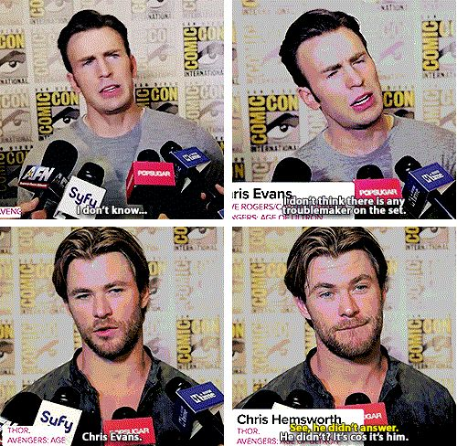 Who's the biggest troublemaker on set? Chris Evans admits nothing! Chris Hemsworth tells it like it is.