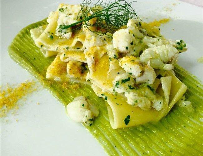 Paccheri di Gragnano alla Rana Pescatrice su Crema di Zucchine e Bottarga di Muggine