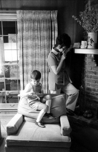 Not published in LIFE. Marilyn Lovell, wife of astronaut Jim Lovell, and son Jeffrey at home during the Apollo 13 crisis, April 1970.