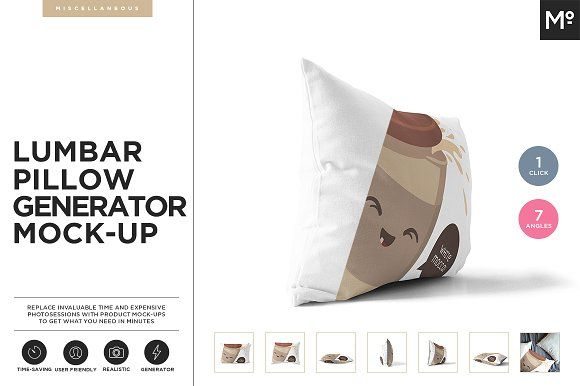 Lumbar Pillow Generator Mock-up by Mocca2Go/mesmeriseme on @creativemarket