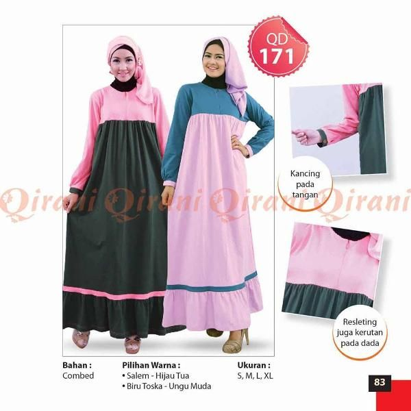 Jual beli Baju Qirani Gamis Model Q-171 di Lapak Aprilia Wati - agenbajumuslim. Menjual Dress - Qirani Gamis Model Q171  Q171 Harga Rp 260.000,-  Ready size : s,m,l,xl,xxl,xxxl  Gamis Bahan Combed  Warna:  Biru Tosca Salem  Size: S,M,L,XL,  HARGA SETIAP SIZE BEDA, SEBELUM CLOSING Mohon dipastikan size apa yang diperlukan.  Untuk mengetahui ketersediaan Stok, CHAT ME ya....  HAPPY SHOPPING