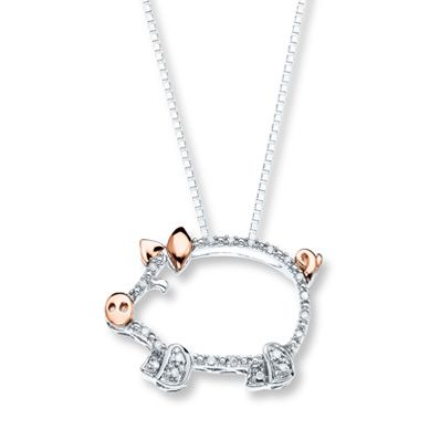 Diamond Pig Necklace Diamond Accents Sterling Silver/10K Gold
