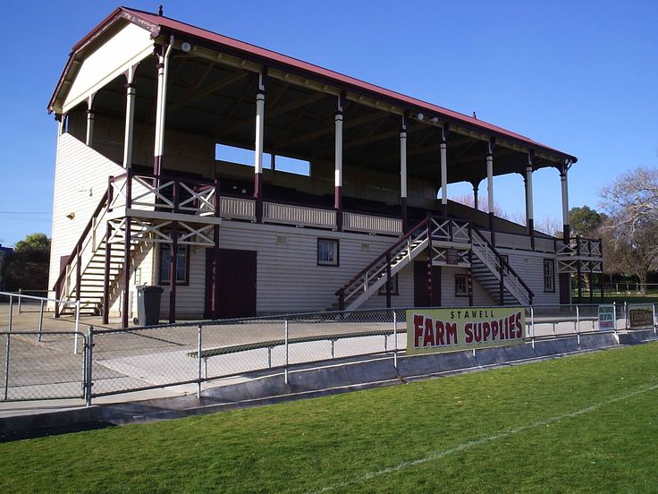 The grandstand at the home of the Stawell Gift Central Park in Stawell.
