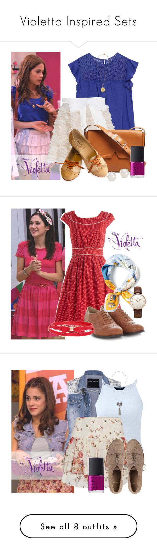 """""""Violetta Inspired Sets"""" by candygirllnm ❤ liked on Polyvore featuring disney, violetta, Zara, Lulu Frost, Honor, Vince, Blue Nile, NARS Cosmetics, women's clothing and women"""