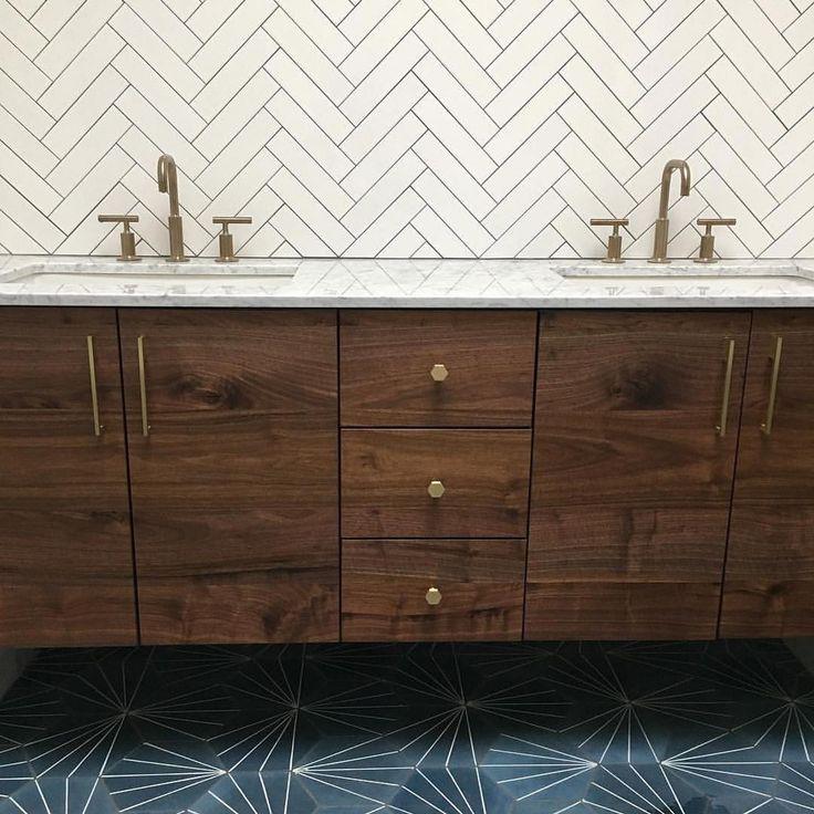 "2,989 Likes, 47 Comments - Cement Tile Shop (@cementtileshop) on Instagram: ""Amazing bathroom beauty in Philadelphia by @osborneconstruction. The Starburst Hex Navy pattern is…"""