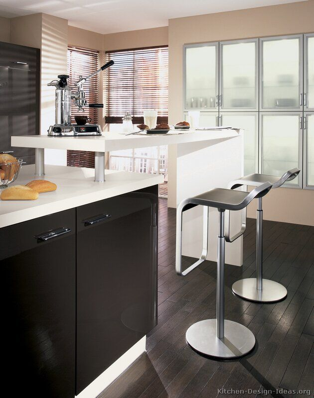 Idea Of The Day: Modern Black Kitchen (By ALNO, AG) With An Elevated Island  Bar.