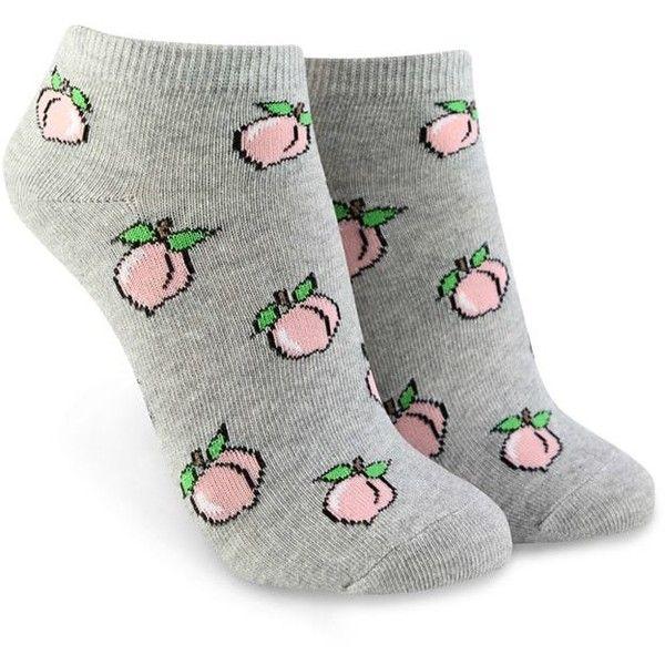 Forever21 Peach Print Ankle Socks ($1.90) ❤ liked on Polyvore featuring intimates, hosiery, socks, short socks, ankle socks, forever 21 socks, forever 21 and patterned socks