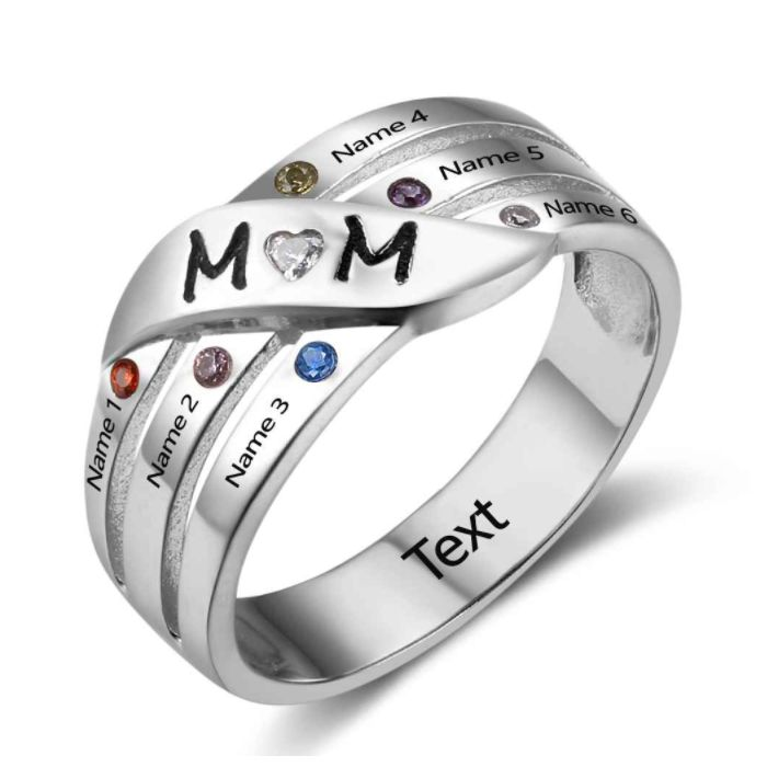 Post Included Aus Wide and to most international countries! >>> Mum Groove Family Birthstone Ring - 925 Sterling Silver