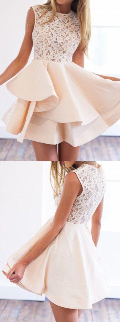 Beige Sheer Crochet Lace Panel Sleeveelss Layered Skater Dress, Homcoming Dress, Prom Dresses