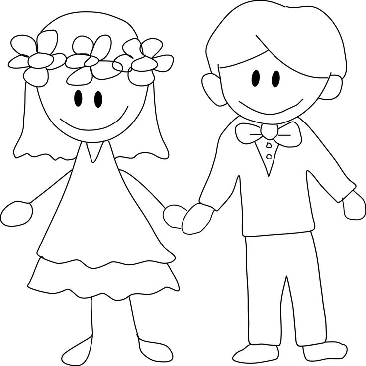 Wedding Couple Easy Coloring Coloring Pages