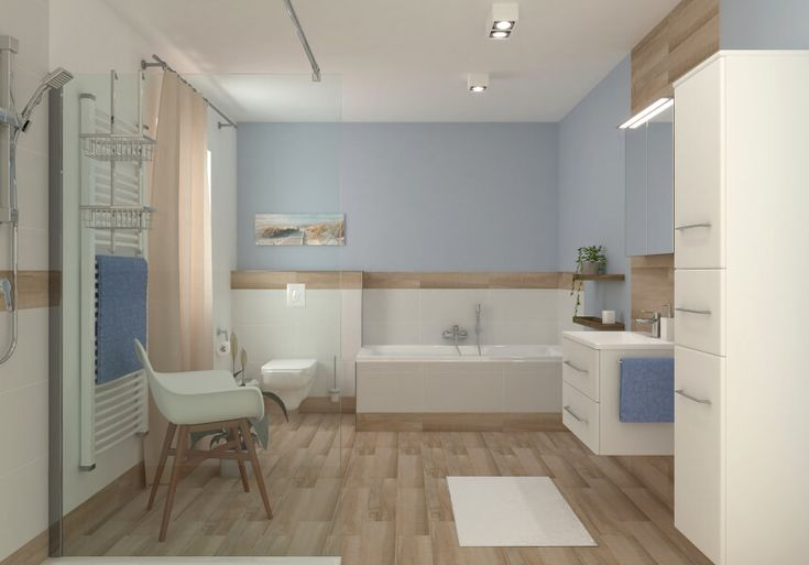Mittleres Bad in Holzoptik - Holz Badezimmer Eikop ...