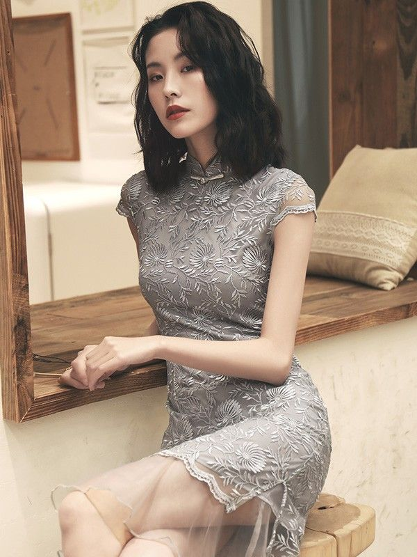 739ae35e0 Gray Lace Qipao / Cheongsam Party Dress with Peplum Hem | femenine ...
