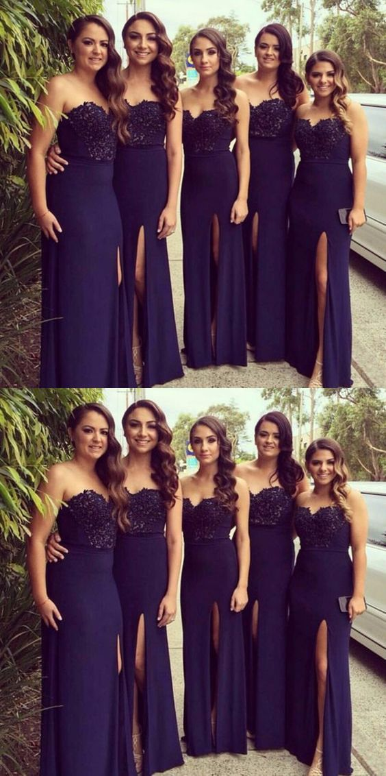 Sweetheart long Navy Blue Bridesmaid Dress, Elegant Wedding Party Dresses with Beading Split