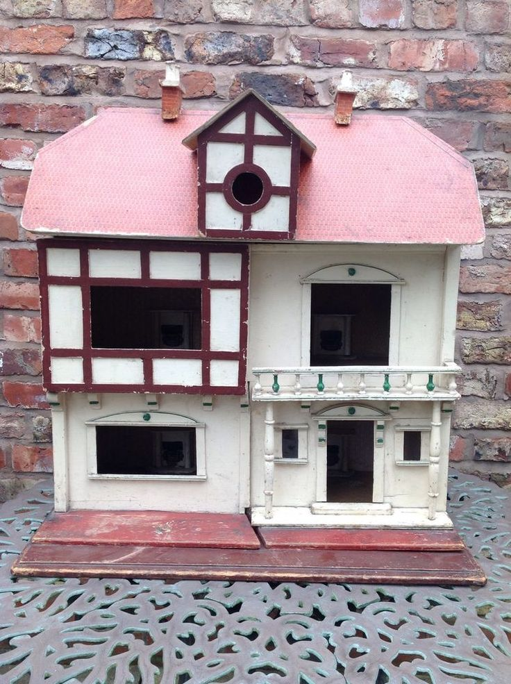 G & J Lines  antique very large wooden dolls house