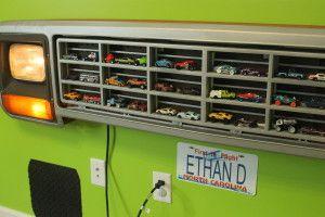 What a great idea! Boy decor truck grill car holder