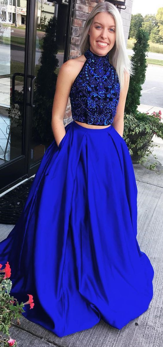 2490c63aa57 High Neck Crystal Beading Prom Dress