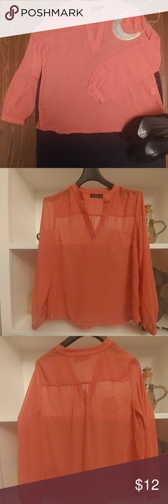 Shear coral blouse with gold dots 38' bust; 24' shoulder to cuff a.n.a Tops Blouses
