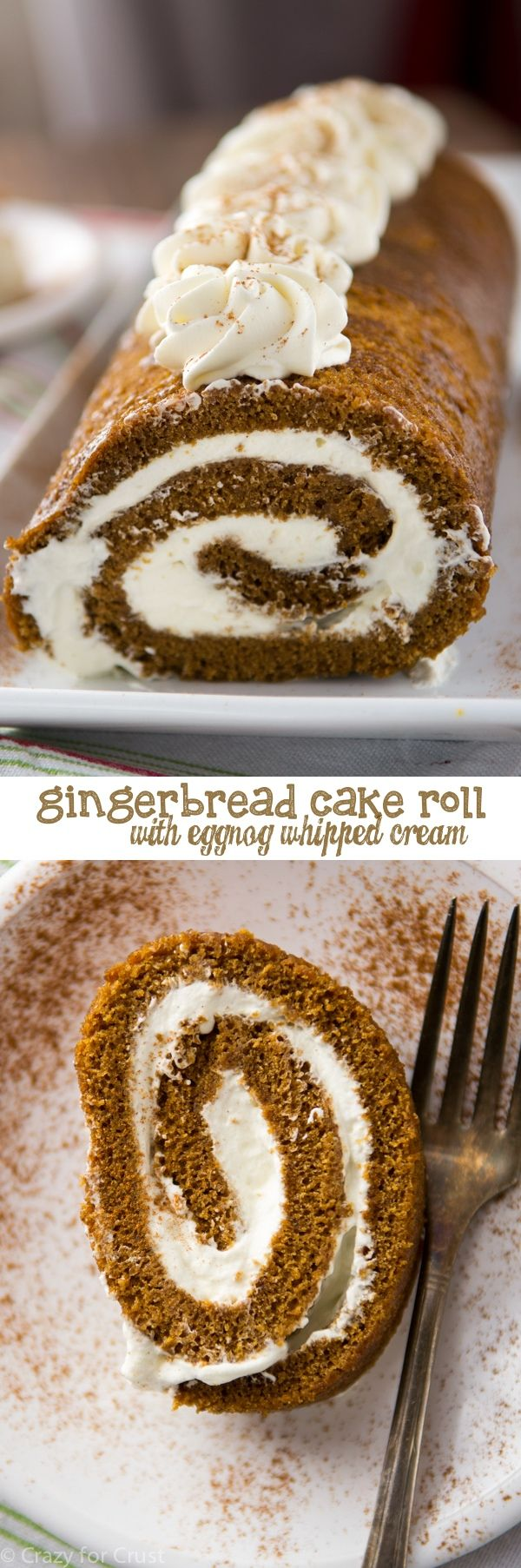 Gingerbread Cake Roll filled with Eggnog Whipped Cream - perfect for any Christmas party!