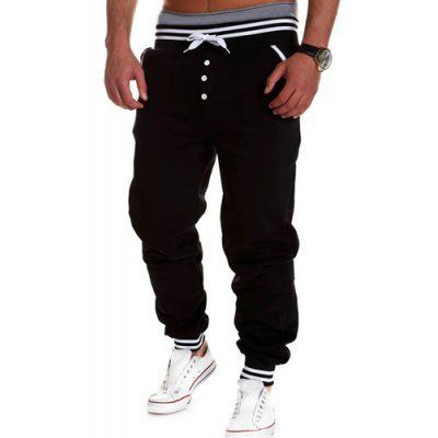 Style: Active  Material: Polyester  Fit Type: Loose  Waist Type: Low  Closure Type: Drawstring  Front Style: Flat  Weight: 1.05KG  Pant Length: Long Pants  Pant Style: Pencil Pants  Package Contents: 1 x Sweatpants  Our SizeWaistHipsLength M89100103 L93104105 XL97108107 ...