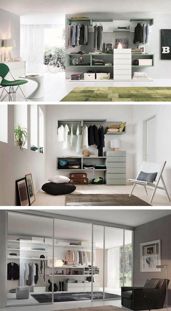 armarios para la ropa abiertos con estantes flotantes