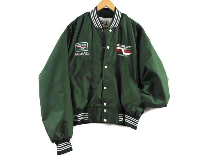 VTG 80s Trucker Bomber Jacket - Large - Green - Athletic Jacket - Nylon Jacket - Work Jacket - Workwear - Vintage Clothing - 80s Clothing - by BLACKMAGIKA on Etsy