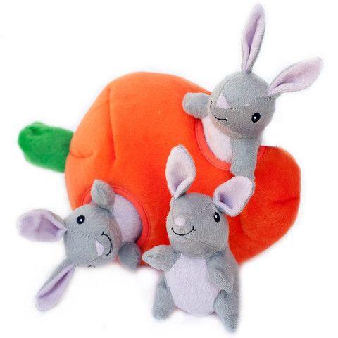 Zippy Burrow - Bunny 'n Carrot Dog Toy