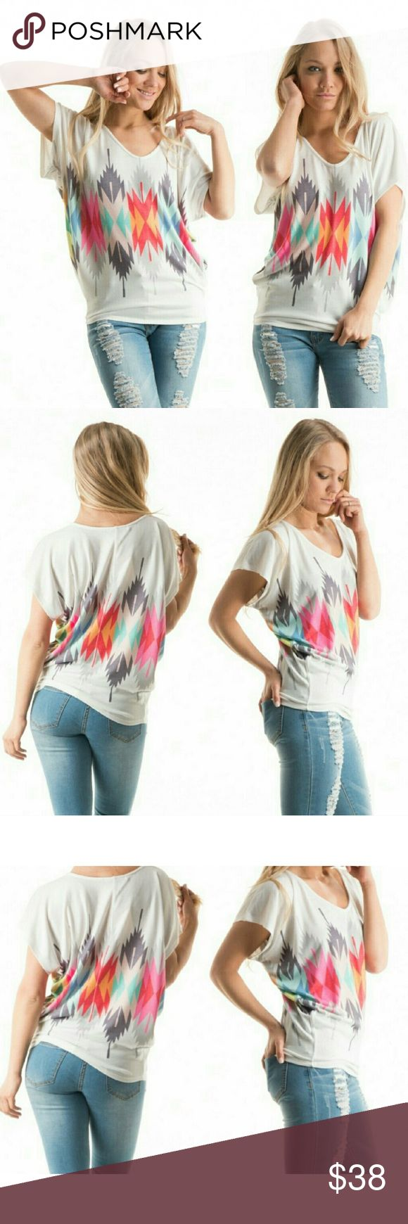 Aztec top Aztec sublimated short dolman sleeve knit top. Made in the USA. Tops Tees - Short Sleeve