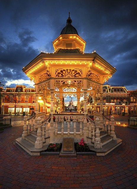 The Gazebo At Blue Hour, Disneyland Paris by WJMcIntosh(Mostly offline until 4/30), via Flickr