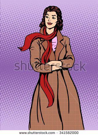 Beautiful woman coats winter autumn pop art retro style. Fashion and apparel