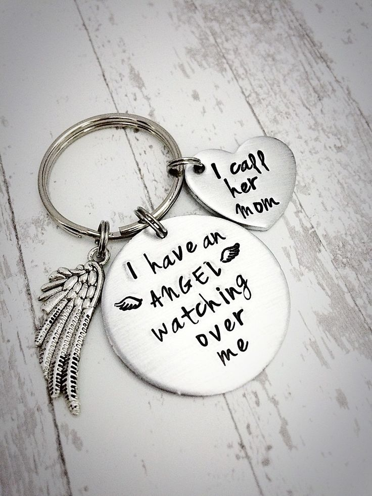 "beautiful+hand+stamped+memorial+keychain This+beautiful+hand+stamped+memorial+gift+is+hand+stamped+with+i+have+an+angel+watching+over+me+on+a+1.25""+circle--the+heart+is+hand+stamped+with+i+call+her+mom.+Comes+with+an+angel+charm+and+is+perfect+for+the+loss+of+a+mom+or+parent. This+keychain+make..."