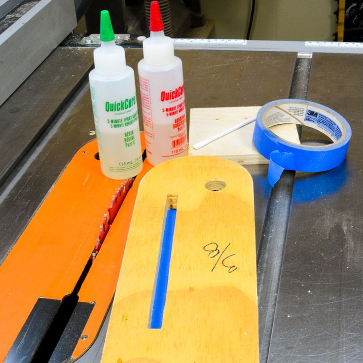 Rejuvenating existing Inserts: One way you can this is to take an existing table saw insert and fill the void where the blade will go by using 2 part - 5-minute epoxy. #woodworking #diy