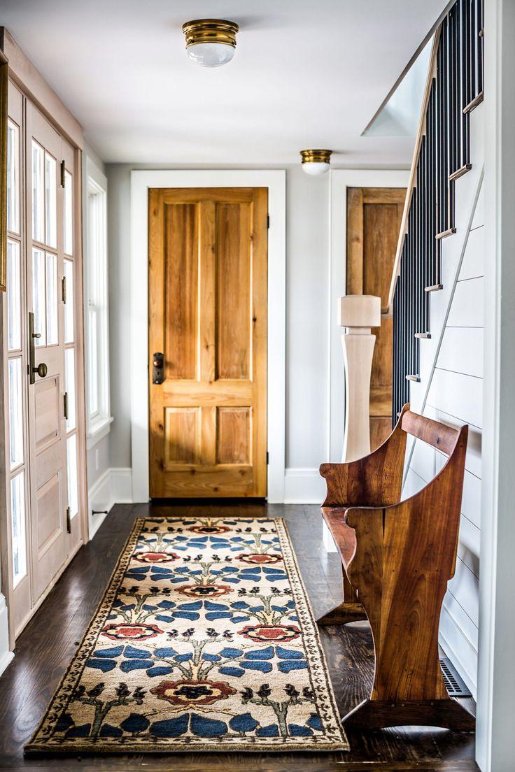 fresh farmhouse white walls wood accents home dcor ideas vintage rug