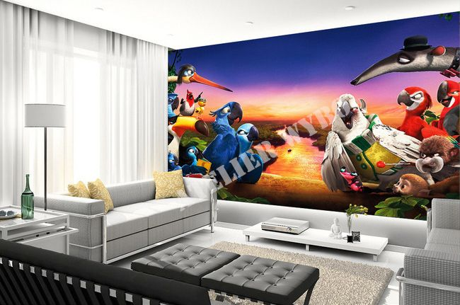papier peint 3d personnalis poster g ant dans la jungle 2 d signe decoration home. Black Bedroom Furniture Sets. Home Design Ideas