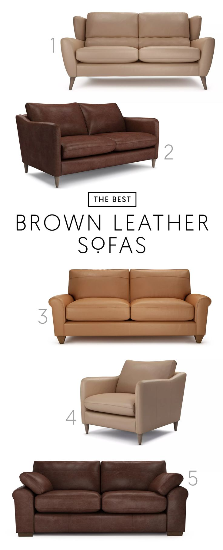 The Best 5 Brown Leather Sofas | A stylish leather sofa is a great investment that you'll want to keep for years. Choose from distressed leathers in deep browns or buttery smooth leather in range of beiges and tans.1. Florence in Smooth Leather - Mushroom  2. Georgia in Distressed Leather - Oak  3. Chloe in Smooth Leather - Camel  4. Georgia in Smooth Leather - Mushroom  5. Sophia in Distressed Leather - Oak. #theloungeco #sofa #interiorinspiration
