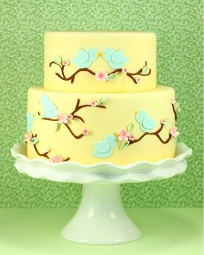 cake ideas with birds on it | Blue bird yellow wedding cake from Eat Cake Be Merry