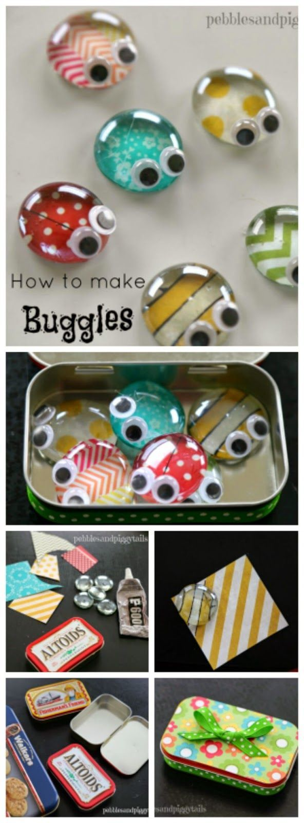 How to make this cute bug craft with kids! BUGGLES. How cute. Altoid Tin Reuse Bug Craft Toy: