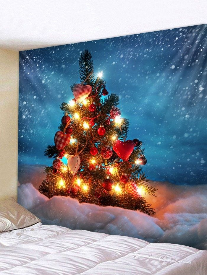 8f4991bca90 Christmas Tree Snowfield Print Tapestry Wall Hanging Decoration ...
