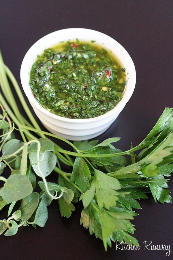 Chimichurri Sauce by kitchenrunway: This traditional Argentinean sauce has a fresh, bright, herb-y, and tangy which is especially great on grilled meats and chicken.