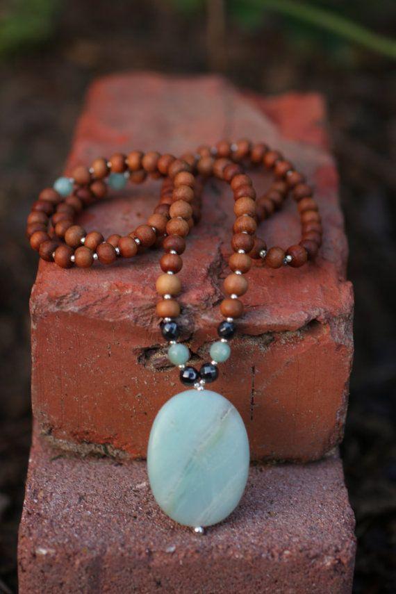 Amazonite Sandalwood Mala Meditation Inspired Yoga by malasanmore