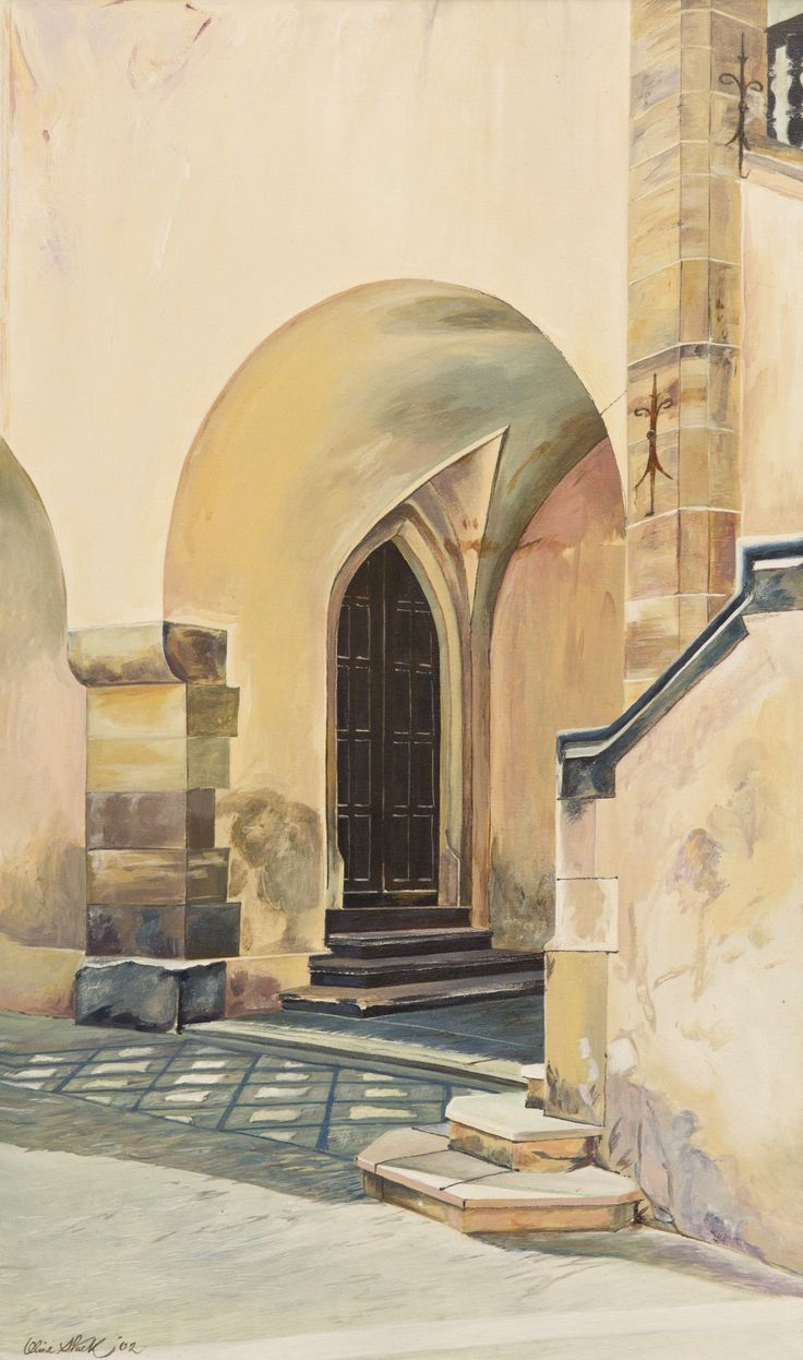 Doorway near Prague. Acrylic on Panel by Olive Stack Sold