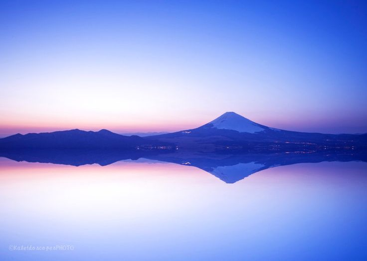 Japan photography,original Mt Fuji art print mirror photo sunset picture landscape wall art dusk Japan print japanese décor pink purple by KaleidoscopesPHOTO2 on Etsy