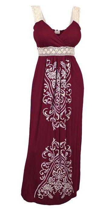 eVogues Plus Size Embroidery Print Empire Waist Maxi Dress Burgundy - 3X